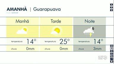 Sexta-feira deve ter pancadas de chuva à noite em Guarapuava - Também há possibilidade de chuvas nas cidades da região.