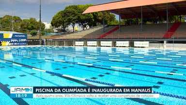 Piscina da Olimpíada é inaugurada em Manaus - Após quatro anos, Vila Olímpica volta a receber competição de natação.