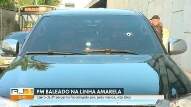PM é baleado em arrastão na Linha Amarela - Sargento foi baleado na perna e na nádega e encaminhado pra hospital. Motorista que teve carro roubado diz que pelo menos quatro bandidos participaram da ação.