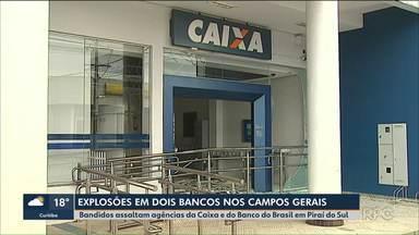 Bandidos explodem duas agências bancárias em Piraí do Sul durante a madrugada - As explosões foram nas agências da Caixa e do Banco do Brasil, que ficam na mesma quadra.