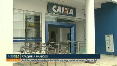Ladrões explodem agência bancária e atiram contra outra em Piraí do Sul - Durante a fuga dos assaltantes, moradores foram baleados.