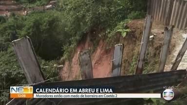 Risco de barreira deslizar em Abreu e Lima deixa moradores preocupados - Moradores do bairro de Caetés 2 estão com medo de deslizamentos na área.