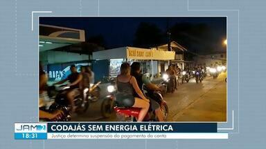 Justiça autoriza suspensão de cobrança de contas de energia em Codajás - Segundo TJAM, a cidade tem passado por interrupções de abastecimento de energia elétrica.