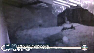 Ladrões invadem laboratório da UFRJ e causam prejuízos de R$ 100 mil à instituição - Ladrões invadiram o laboratório de Virologia Molecular da Universidade Federal do Rio de Janeiro e causaram prejuízos da ordem de R$ 100 mil à instituição. E a perda de 30 anos de pesquisas.