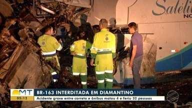 BR-163 fica interditada depois de grave acidente em Diamantino - BR-163 fica interditada depois de grave acidente em Diamantino