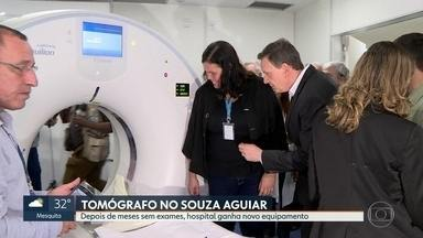 Depois de meses sem exames Souza Aguiar recebe novo tomógrafo - Prefeito Marcelo Crivella disse que ainda falta instalar quatro tomógrafos