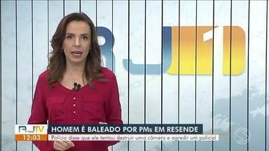 Homem é baleado na perna após tentar quebrar câmera da prefeitura de Resende e agredir PM - Segundo PM, caso aconteceu na Rua dos Goytacazes, no bairro Cidade Alegria.