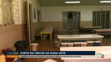 Ladrões levam fiação, toneiras e até panelas de creche na zona Leste de Londrina - O furto foi registrado na madrugada desta quarta-feira (31), as salas de aula ficaram no escuro.