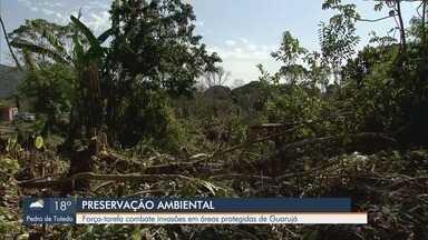 Força-tarefa impede desmatamento em área de preservação em Guarujá, SP - Espaço seria usado para construção de moradias irregulares no Jardim Enseada.
