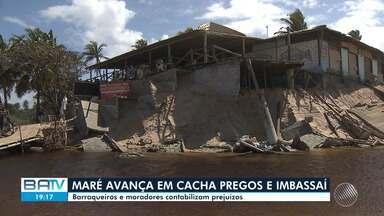 Avanço da maré causa prejuízo e medo em praias do litoral baiano - Imóveis destrídos, faixa de areia reduzida e paisagem modificada pela força do mar.