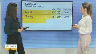 Confira a previsão do tempo para esta terça-feira (6) - Mínima de 12°C e máxima de 24°C em Campinas.