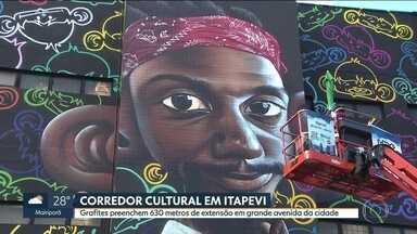 Artes do Corredor Cultural são finalizadas neste sábado (10) em Itapevi - Grafites feitos por 18 artistas preenchem 630 metros de extensão da principal avenida da cidade.
