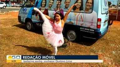 Anhanguera Móvel conhece bailarina que sonha conhecer Gusttavo Lima, em Goiânia - Suelen conversou com a Hellen Ferreira, veja como foi.