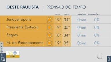 Segunda-feira amanhece quente em Presidente Prudente - Confira a previsão do tempo para a região.