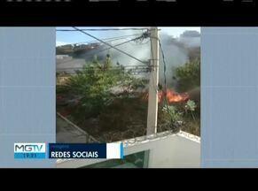 Incêndio em lote vago assusta moradores em Governador Valadares - Fogo consumiu boa parte da vegetação no Bairro Belvedere.