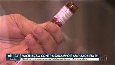SP1 - Edição de segunda-feira, 12/08/2019 - 38 cidades começam a vacinar bebês de 6 meses a 1 ano contra o sarampoDados mostram que ocorre agressão a funcionário da CPTM a cada três diasMais de 15 milhões de paulistas estão inadimplentes.