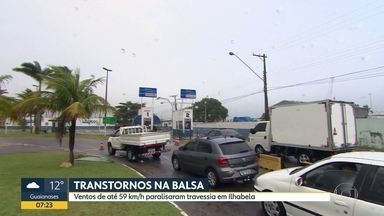 Transtornos na balsa no litoral norte e sul - Mudança climática afetou a travessia das balsas nas duas regiões do litoral paulista nos últimos dias