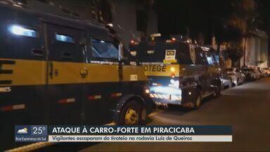 Ao menos 30 disparos atingem carro-forte alvo de tentativa de roubo em Piracicaba - Motorista da Protege atravessou o canteiro central para fugir dos criminosos. Ninguém ficou ferido e a Polícia Civil investiga se há relação entre este crime e o ocorrido em março.
