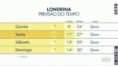 Quinta-feira (15) deve registrar mínima de 9 graus em Londrina - Próximos dias seguem sem previsão de chuva.