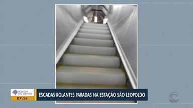 Telespectadora compartilha registro de escada rolante sem funcionar em estação da Trensurb - Assist ao vídeo.