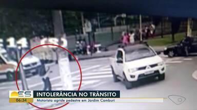 Motorista agride pedestre em Jardim Camburi, em Vitória - Intolerância no trânsito ocorreu na quarta-feira (7) da semana passada.