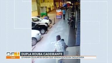 Dupla rouba celular de cadeirante idosa em Taguatinga - Os dois passaram em uma bicicleta e levaram o aparelho. Ninguém foi preso até o momento.