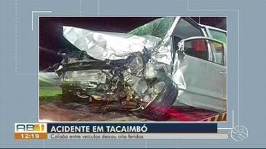 Colisão entre carro e van deixa 8 feridos na BR-232, em Tacaimbó - A van transportava estudantes de Pesqueira, segundo a Polícia Rodoviária Federal.