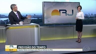 Confira a previsão do tempo para esta sexta-feira (16) - Sexta-feira (16) começa com frio e névoa no Rio. Dia de tempo firme e calor.