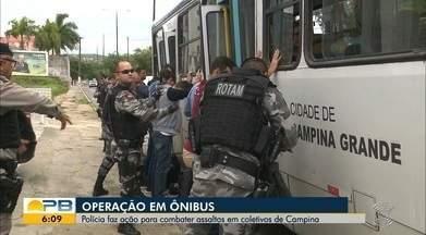 Polícia faz ação para combater assaltos em coletivos de Campina Grande - Confira os detalhes na reportagem de Felipe Valentim.