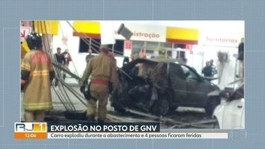 Carro explode durante abastecimento e deixa quatro feridos em Campo Grande - O acidente aconteceu no momento que o carro era abastecido com gás, num posto da Estrada do Monteiro.