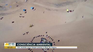 Grupo faz mutirão para limpar praias e ilhas de Vitória - A quantidade de lixo recolhido, infelizmente, foi bem grande.