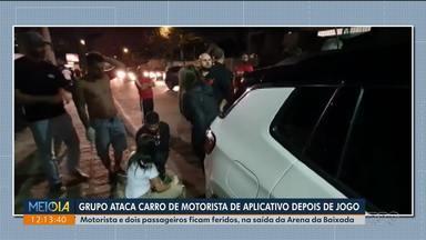 Grupo ataca carro de motorista de aplicativo depois de jogo do Athletico - Motorista e passageiros ficam feridos, na saída da Arena da Baixada .