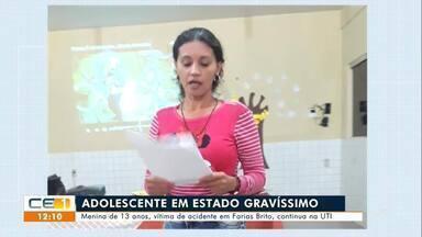 Menina de 13 anos, vítima de acidente em Farias Brito, continua na UTI - Saiba mais em g1.com.br/ce