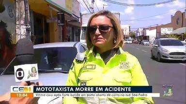 Mototaxista morre após bater moto em porta de caminhão na rua São Pedro - Saiba mais em g1.com.br/ce