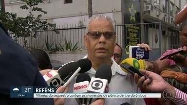Vítimas do sequestro contam os momentos de pânico dentro do ônibus na Ponte Rio-Niterói - Ao serem liberados, os reféns foram levados à Delegacia de Homicídios para prestarem depoimento.