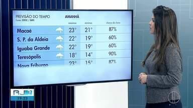 Confira a previsão do tempo para cidades do interior do Rio - Assista a seguir.