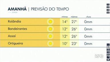 Próximos dias seguem sem previsão de chuva para a região de Londrina - Manhãs amanhecem frias, mas à tarde o sol faz a temperatura subir.
