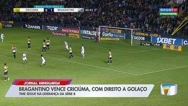Bragantino vence o Criciúma, chega à 10ª vitória e segue na liderança - Matheus Peixoto e Uillian Correia marcam os gols que mantêm o Massa Bruta com vantagem na ponta.