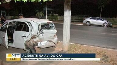 Duas pessoas ficam feridas em acidente na Av. do CPA, em Cuiabá - Duas pessoas ficam feridas em acidente na Av. do CPA, em Cuiabá