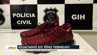 Suspeito de 4 homicídios usava tênis vermelho como 'amuleto' em crimes, diz polícia de GO - Em vídeo que mostra um dos homicídios, jovem usa o calçado. Segundo delegado, ele não tinha vínculo com as vítimas e agia a mando de chefes de tráfico de drogas, motivação de todos os assassinatos.