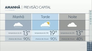 Temperaturas sobem um pouco no final de semana - Mas na sexta-feira a temperatura máxima ainda fica abaixo dos 20 graus, com boa chance de chuva