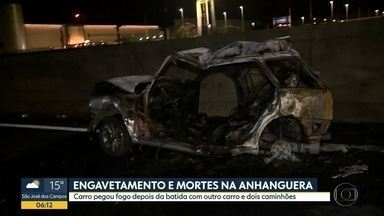 Engavetamento provoca duas morte na Rodovia Anhanguera - Carro onde estava as vítimas pegou fogo depois de ser atingido por caminhão.