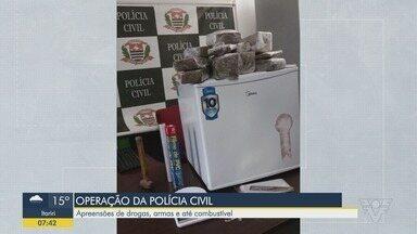 Polícia Civil realiza mega-operação na Baixada Santista e no Vale do Ribeira - Ação contou com apreensão de armas, drogas e combustível.