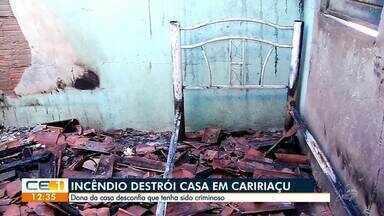 Incêndio destrói casa em Caririaçu - Saiba mais em g1.com.br/ce