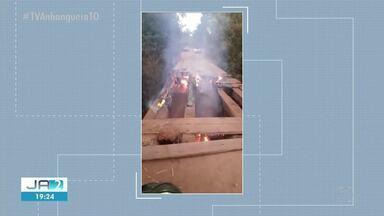 Causas de fogo em ponte de madeira na TO-010 são investigadas - Causas de fogo em ponte de madeira na TO-010 são investigadas
