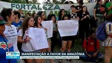 Manifestantes se reúnem em ato pela Floresta Amazônica - Saiba mais em g1.com.br/ce