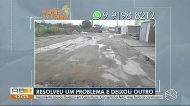 Você no ABTV: Moradores reclamam de falta de calçamento e vazamento de água - Ocorrência é em Caruaru, Garanhuns e Santa Cruz do Capibaribe.