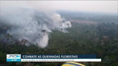 Aviões da Força Aérea dão apoio no combate a incêndios florestais - Um dos pontos que precisaram de ajuda nesta quarta-feira (28) foi o sul do Amazonas.
