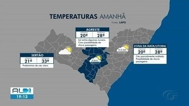 Confira a previsão do tempo para a quinta-feira (29) em Alagoas - O boletim é do Laboratório de Análise e Processamento de Imagens de Satélites da Ufal.