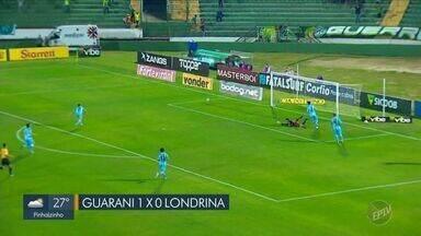 Guarani bate o Londrina e encerra o 1º turno com vitória na série B - Bugre fez 1 a 0 sobre o Tubarão em Campinas (SP), mas segue na lanterna da competição.